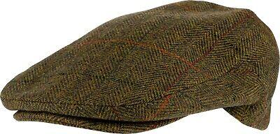 Traditional English Country Wool Blend Tweed Shooting Hunting Peaked Flat Cap