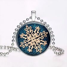 Stud Snowflake Glow In The Dark Pendant Necklace Cabochon Glass Christmas Gift