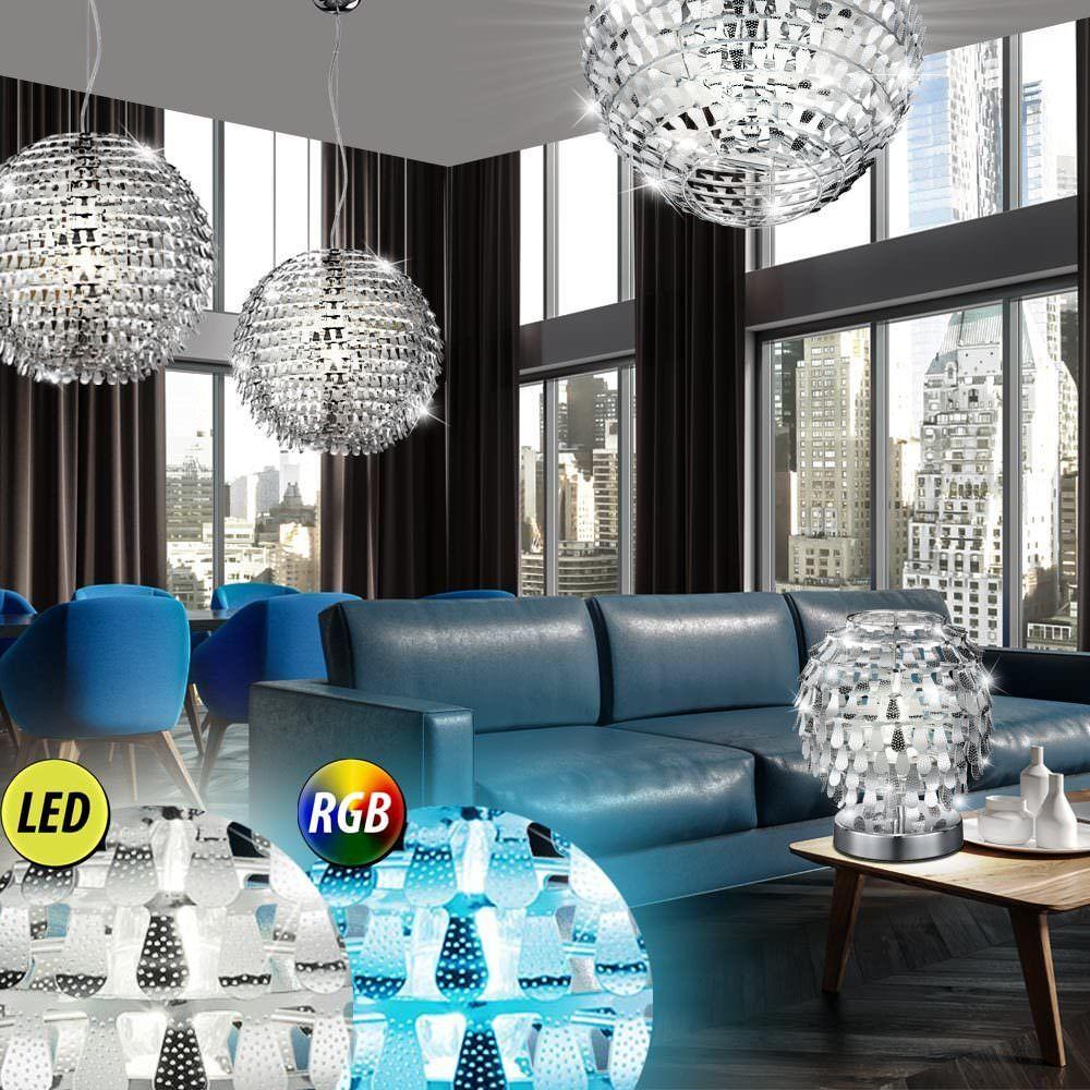 RGB LED laisse plafond lampe suspendue télécommande chrome table dimmable
