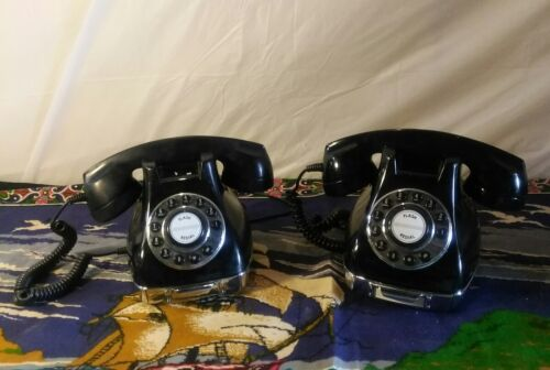 2 Black Vintage Classic Phone 3 Rotary Dial Home Phone Mid Century wCompartment
