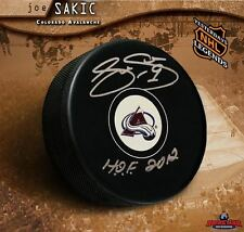 JOE SAKIC Autographed Colorado Avalanche Puck w/ Hall of Fame Inscription