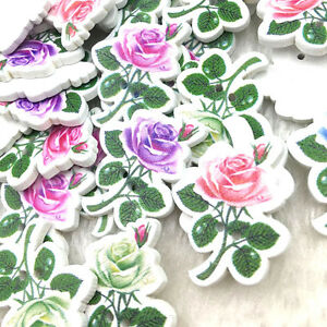 50-100pcs-Mixed-2-Holes-Flowers-Wood-Sewing-Buttons-Scrapbooking-WB376
