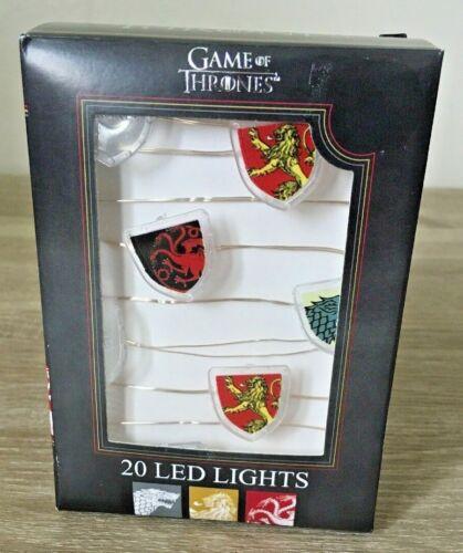 Entièrement neuf dans sa boîte Primark HBO Game of Thrones Ligne 20 Lumières DEL montrant House Bannières Cadeau