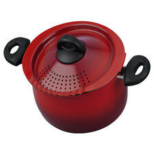 Bialetti Oval 5 Quart Pasta Pot with Strainer Lid Nonstick 5.8 Red