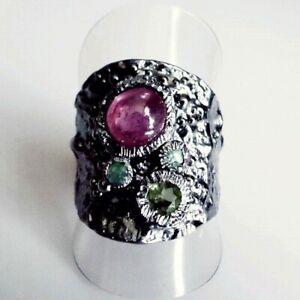 Unikat Cabochon Rubin Smaragd Peridot Band Ring 925 Black Rhodium 19,1 mm 60