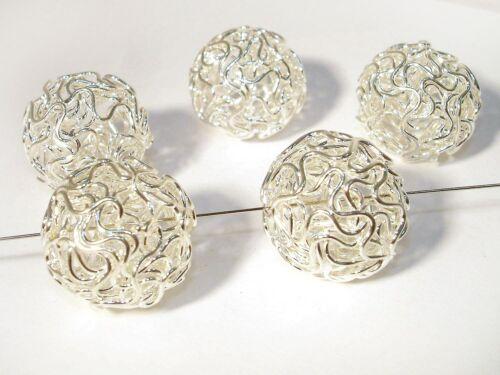 20mm Fil perles fil boule balle argent 2 pcs #a07881