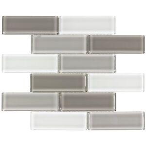 Details about Classic Subway Gray White Glossy Glass Tile Backsplash  Kitchen Wall MTO0174