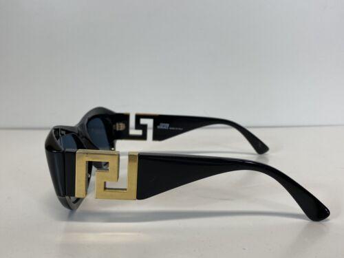 Rare Vtg Gianni Versace Black Gold Greek Key Sung… - image 1