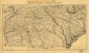 Map Of Georgia Towns And Cities.Details About A4 Reprint Of American Cities Towns States Map Georgia
