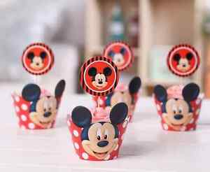 Mickey-Mouse-CUPCAKE-WRAPPERS-and-TOPPERS-24PCS-FREE-SAME-DAY-SHIPPING