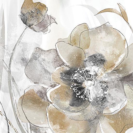 Maria Donovan  Taupe Spring Poppy Keilrahmen-Bild Leinwand Blaumen Mohn modern