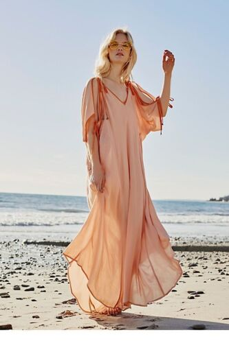 FP Free People Rose Easy Morning Maxi Dress Size XS X-small Orange RSP $98