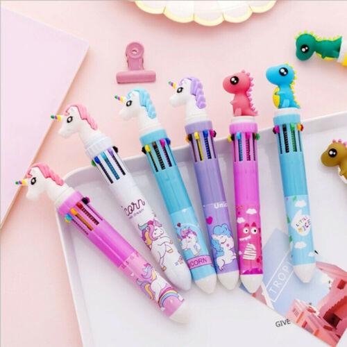 10 in 1 Colored Kawaii Unicorn Dinosaur Ballpoint Pen Gel Pen Ballpen Stationery