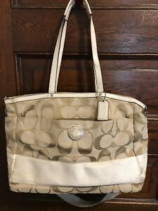 Coach-Diaper-Laptop-Bag-White-Tan-Canvas