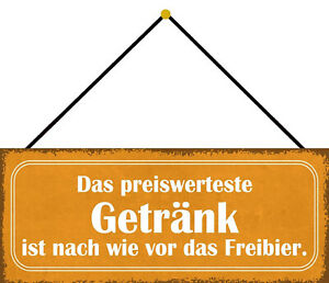 Preiswerteste Drink Free Beer Shield with Cord Tin Sign 10 X 27 CM K0719-K