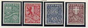 Estonia-Sc-B40-44-1939-Coats-of-Arms-charity-stamp-set-mint