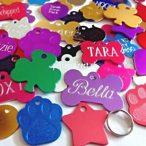 PET-ID-TAGS-Dog-Cat-Puppy-Kitten-Name-amp-Address-Discs-CHEAPEST-DEEP-Engraved