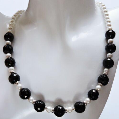 Perlen Onyx Achat Kette Silber 925 Muschelkern weiß schwarz 38,40,42,45,48,50 cm
