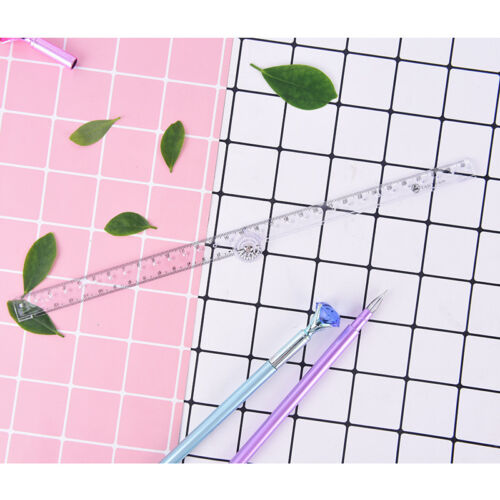 clear plastic acrylic folding straight rulers 30cm drawing kid school supplie VG