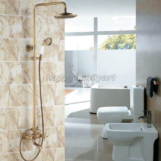 Laiton antique salle de bains pluie Douche robinet set baignoire mitigeur Yrs122