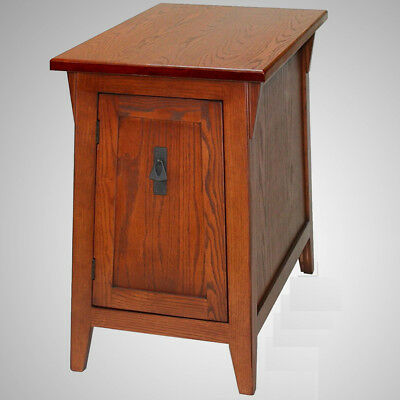 Living Room End Table Cabinet Adjule Shelf Mission Style Accent Wood Storage Ebay