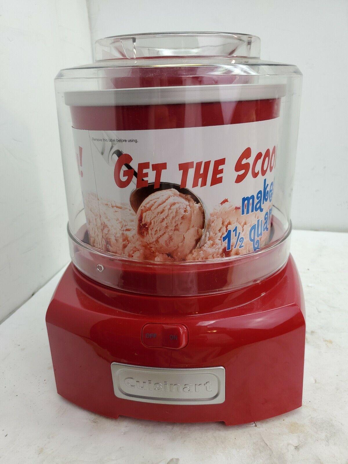 Cuisinart ICE-21 1.5 QT yogourt glacé-Sorbetière Rouge sans boîte