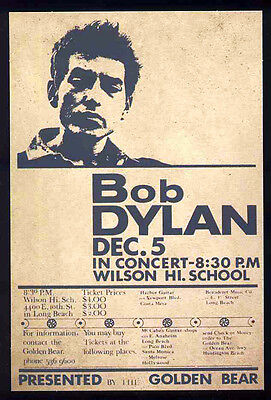 Bob Dylan  Wilson High Long Beach Concert Poster 1964