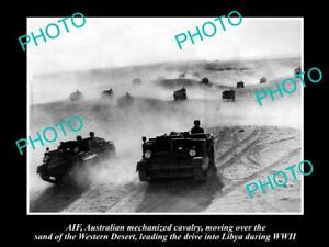 OLD-POSTCARD-SIZE-PHOTO-OF-AIF-ANZACS-THE-MECHANIZED-CAVALRY-IN-LIBYA-WWII