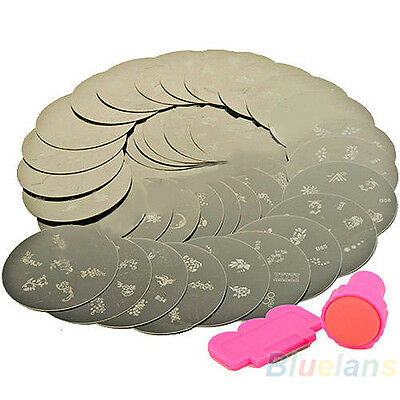 10pcs Nail Art Stamps Stamp Nail Print Metal Plate Sst With Stamper Transfer Kit