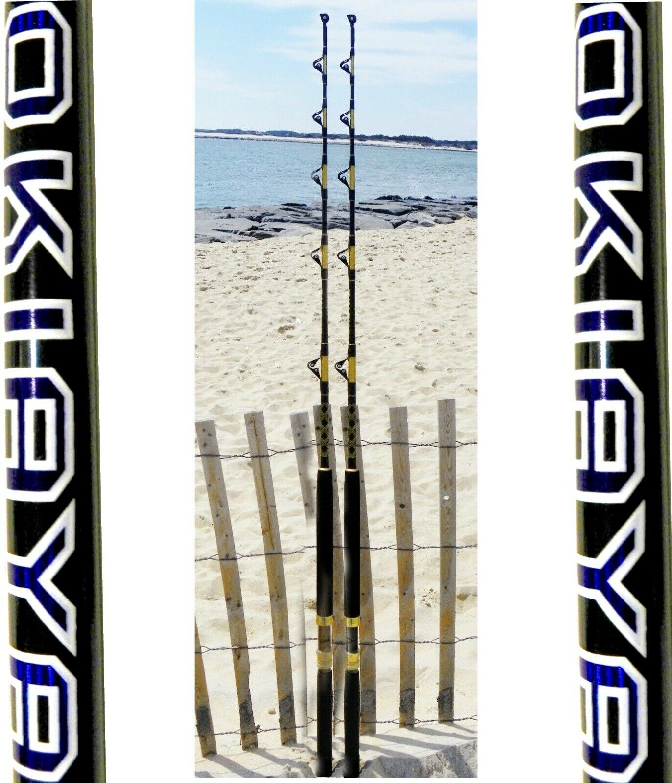 Okiaya Composit 30-50lb Agua Salada Grandes Juego Roller Rod Set De 2