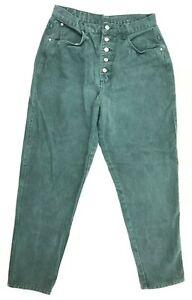 Vtg-80s-90s-GITANO-Jeans-Green-Button-Fly-HIGH-WAIST-Mom-14-Short-Taper-Leg