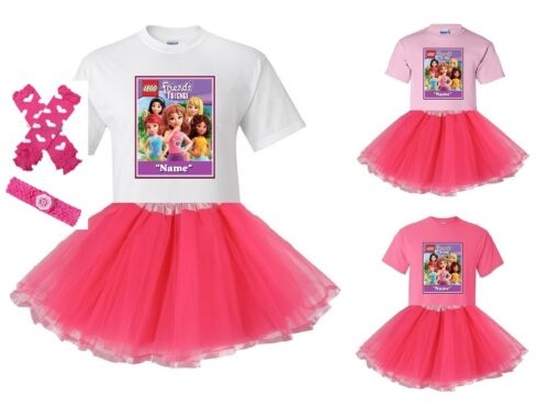 "/""Lego Friends Forever/"" Personaliz​ed T-Shirt and Pink Tutu Set NEW"