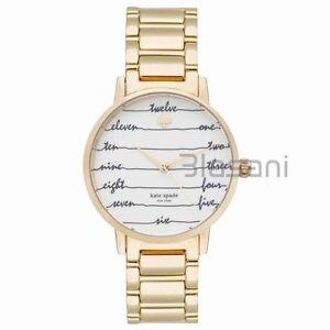 Kate-Spade-Original-KSW1060-Women-039-s-Metro-Chalkboard-Gold-Stainless-Steel-Watch