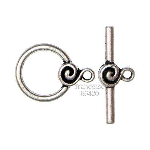 4 Fermoirs Toggle Rond argent pour collier bracelet Apprêts création bijoux F054