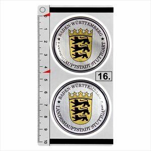 Baden-Wurttemberg-set-of-2-German-Number-Plate-Seal-Stadt-3D-Domed-Sticker-badge