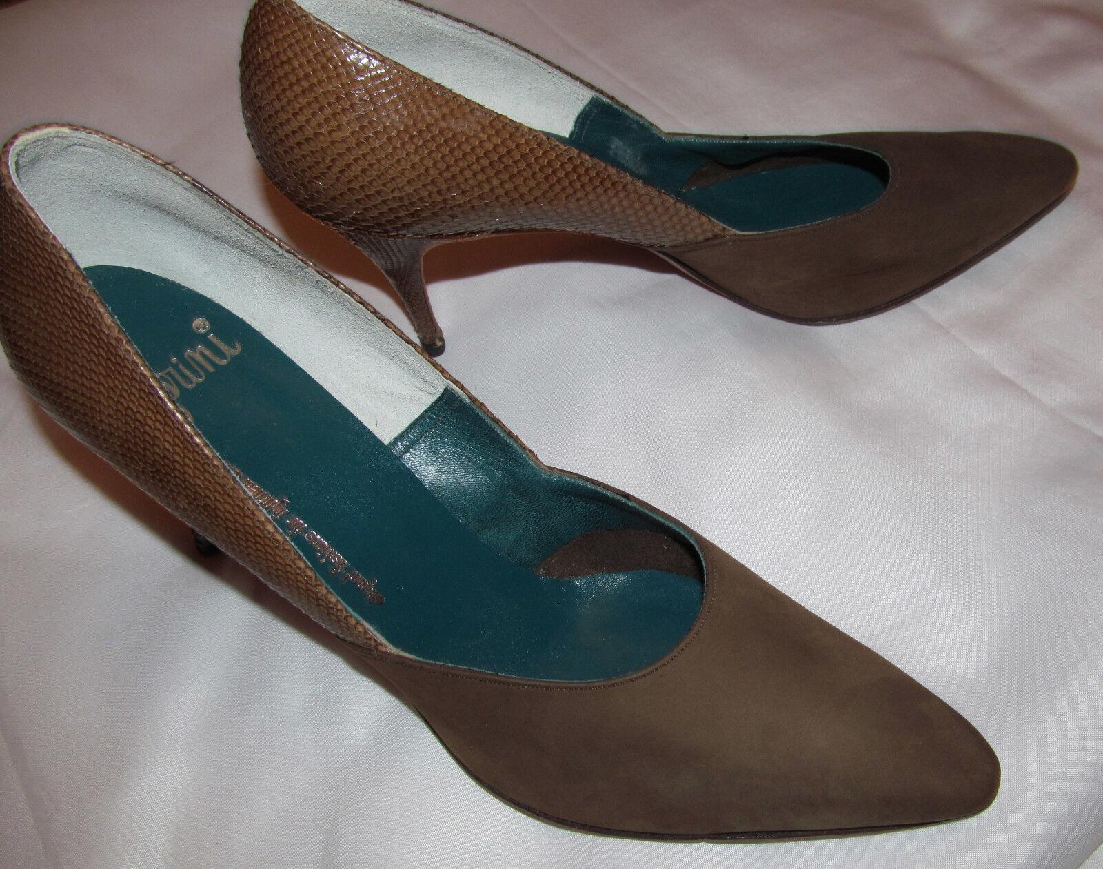 Vintage años años años 60 Caprini himelhoch 'Serpiente Lagarto Cuero Zapatos De Gamuza sentir 8.5 AA  punto de venta
