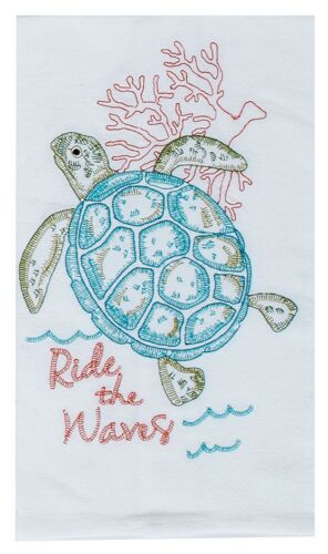 Ride the Waves Sea Turtle in Coral Embroidered Flour Sack Kitchen Dish Towel