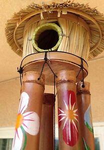 Image Is Loading Tiki Bird House Bamboo Wind Chimes Hawaiian Tropical