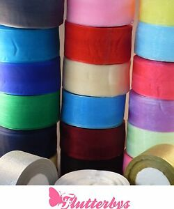 Quality-Organza-Ribbon-10-metres-50mm-wide-Various-colours-available
