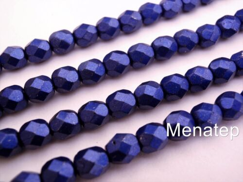 Lapis Blue 25  6 mm Czech Glass Firepolish Beads Saturated Metallic