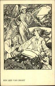 Angel-of-Death-MaCabre-EEN-LIED-VAN-SMART-Beautiful-Woman-Child-Postcard-G19