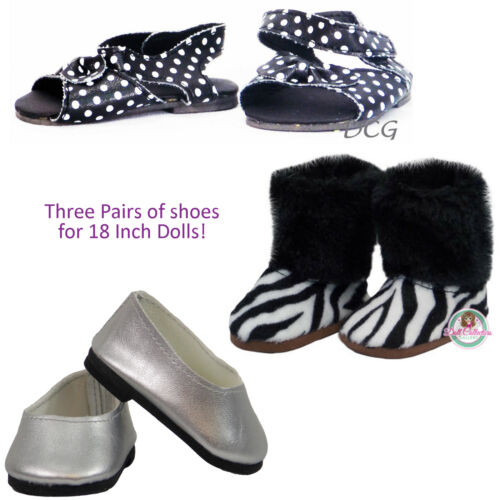 AFW LOT OF 3 SHOES Polka Dot Sandals Zebra Boot Silver for American Girl Dolls