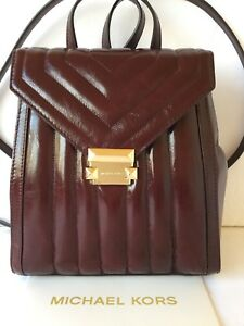 MICHAEL-KORS-Whitney-Oxblood-Burgundy-Quilted-Medium-Leather-Backpack-Purse-NWT