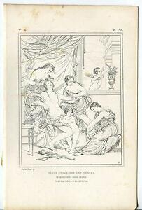 ANTIQUE-ARTISTIC-NUDE-WOMAN-VENUS-TOILETTE-CHERUBS-THREE-GRACES-ETCHING-PRINT