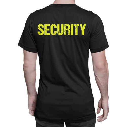Security T-Shirt Black Neon Distressed Letters Mens 2XL