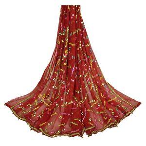 Sanskriti-Vintage-Dupatta-Long-Stole-Georgette-Dark-Red-Shawl-Hand-Beaded-Veil