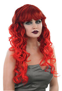 LADIES LONG RED WIG CURLY DEVIL HALLOWEEN PARTY VAMPIRESS WITCH FANCY DRESS NEW