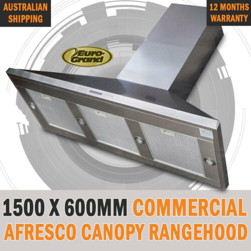 NEW 1500 X 600mm Commercial Alfresco Rangehood Canopy Range Hood Twin Motor BBQ