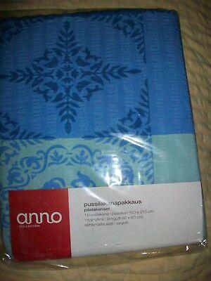Genial Anno Collection Blau Bettwäschegarnitur 150x210 Cm 60x50 Cm Neu