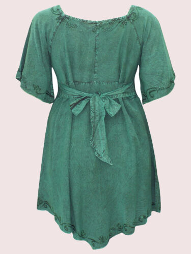 NEW Eaonplus GEM GREEN Medieval Embroidered Tunic Top SIZES UK 18//20 to 30//32